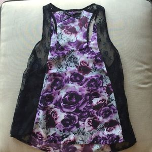 Sheer floral and lace tank top